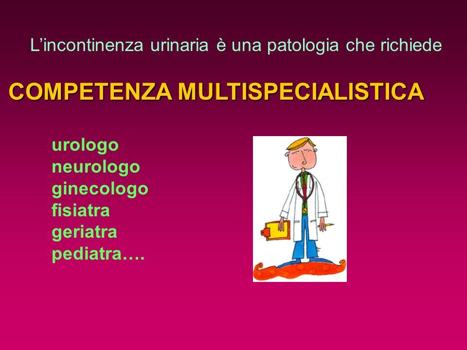 Lincontinenza urinaria è una patologia che richiede COMPETENZA MULTISPECIALISTICA urologo neurologo ginecologo fisiatra geriatra pediatra….