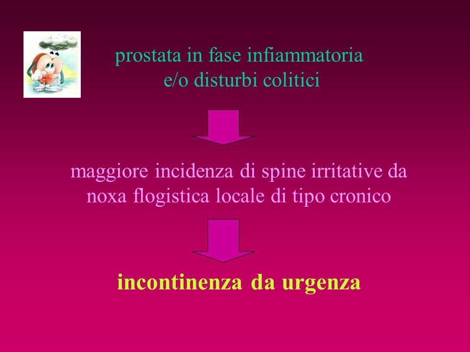prostata in fase infiammatoria e/o disturbi colitici maggiore incidenza di spine irritative da noxa flogistica locale di tipo cronico incontinenza da