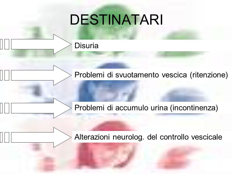 DESTINATARI Problemi di svuotamento vescica (ritenzione) Problemi di accumulo urina (incontinenza) Alterazioni neurolog. del controllo vescicale Disur