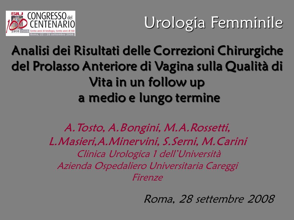 Roma, 28 settembre 2008 Analisi dei Risultati delle Correzioni Chirurgiche del Prolasso Anteriore di Vagina sulla Qualità di Vita in un follow up a me