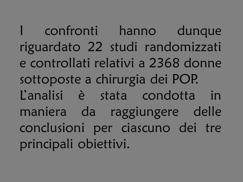 I confronti hanno dunque riguardato 22 studi randomizzati e controllati relativi a 2368 donne sottoposte a chirurgia dei POP. Lanalisi è stata condott