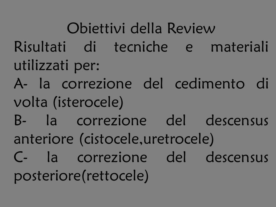 Obiettivi della Review Risultati di tecniche e materiali utilizzati per: A- la correzione del cedimento di volta (isterocele) B- la correzione del des