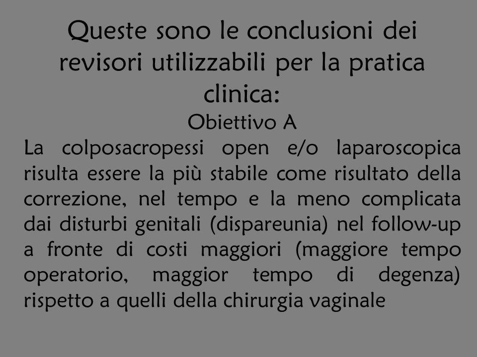 Queste sono le conclusioni dei revisori utilizzabili per la pratica clinica: Obiettivo A La colposacropessi open e/o laparoscopica risulta essere la p