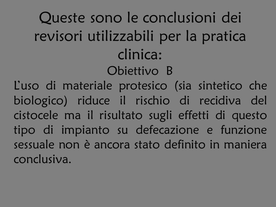 Queste sono le conclusioni dei revisori utilizzabili per la pratica clinica: Obiettivo B Luso di materiale protesico (sia sintetico che biologico) rid