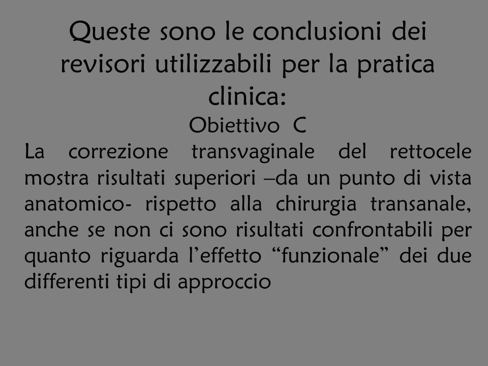Queste sono le conclusioni dei revisori utilizzabili per la pratica clinica: Obiettivo C La correzione transvaginale del rettocele mostra risultati su