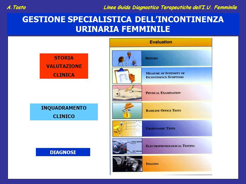 STORIA VALUTAZIONE CLINICA INQUADRAMENTO CLINICO DIAGNOSI GESTIONE SPECIALISTICA DELLINCONTINENZA URINARIA FEMMINILE A.Tosto Linee Guida Diagnostico Terapeutiche dellI.U.