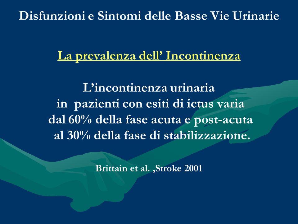 Disfunzioni e Sintomi delle Basse Vie Urinarie La prevalenza dell Incontinenza Lincontinenza urinaria in pazienti con esiti di ictus varia dal 60% del