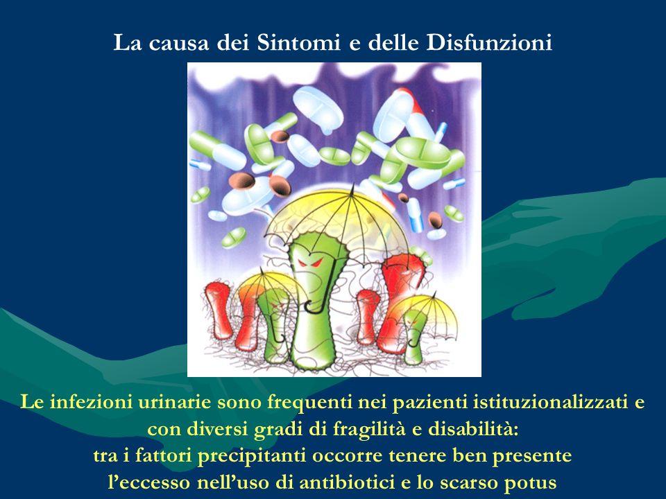 La causa dei Sintomi e delle Disfunzioni Le infezioni urinarie sono frequenti nei pazienti istituzionalizzati e con diversi gradi di fragilità e disab