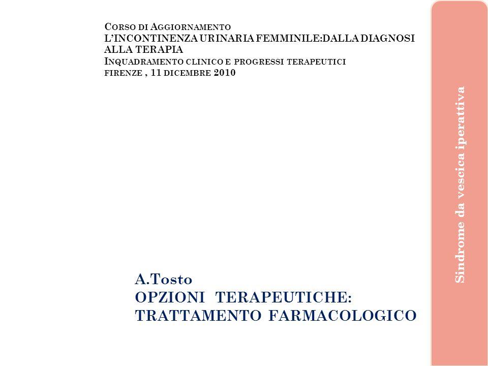C ORSO DI A GGIORNAMENTO LINCONTINENZA URINARIA FEMMINILE:DALLA DIAGNOSI ALLA TERAPIA I NQUADRAMENTO CLINICO E PROGRESSI TERAPEUTICI FIRENZE, 11 DICEMBRE 2010 A.Tosto, Firenze 2010 Sindrome da vescica iperattiva Il basso tratto urinario rappresenta una unità funzionale controllata da una complessa interrelazione fra Sistema Nervoso Centrale e Periferico e diversi fattori locali di regolazione non sempre ancora ben conosciuti.
