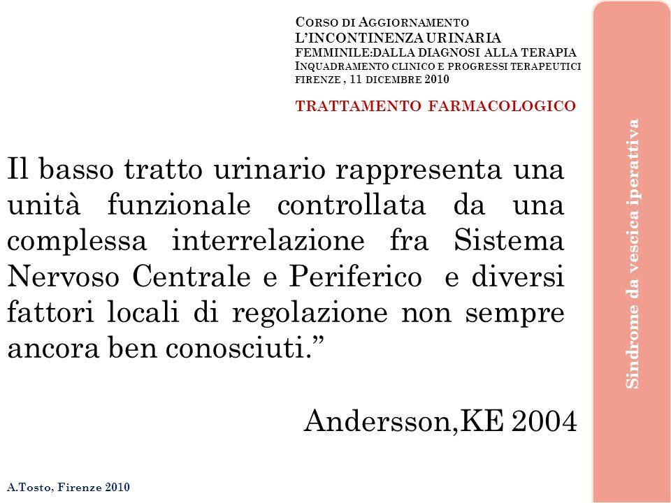 C ORSO DI A GGIORNAMENTO LINCONTINENZA URINARIA FEMMINILE:DALLA DIAGNOSI ALLA TERAPIA I NQUADRAMENTO CLINICO E PROGRESSI TERAPEUTICI FIRENZE, 11 DICEMBRE 2010 A.Tosto, Firenze 2010 Sindrome da vescica iperattiva ed ancora… …leziologia e la fisiopatologia delle disfunzioni del basso tratto urinario rimangono ancora non completamente note e questo si riflette nel fatto che le alternative farmaceutiche utilizzabili sono ancora in numero limitato e non sempre tutte ben documentate.