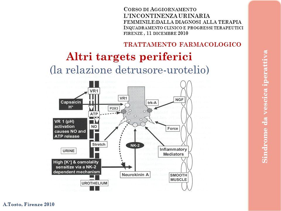 C ORSO DI A GGIORNAMENTO LINCONTINENZA URINARIA FEMMINILE:DALLA DIAGNOSI ALLA TERAPIA I NQUADRAMENTO CLINICO E PROGRESSI TERAPEUTICI FIRENZE, 11 DICEMBRE 2010 A.Tosto, Firenze 2010 Sindrome da vescica iperattiva TRATTAMENTO FARMACOLOGICO Altri targets periferici (la relazione detrusore-urotelio)
