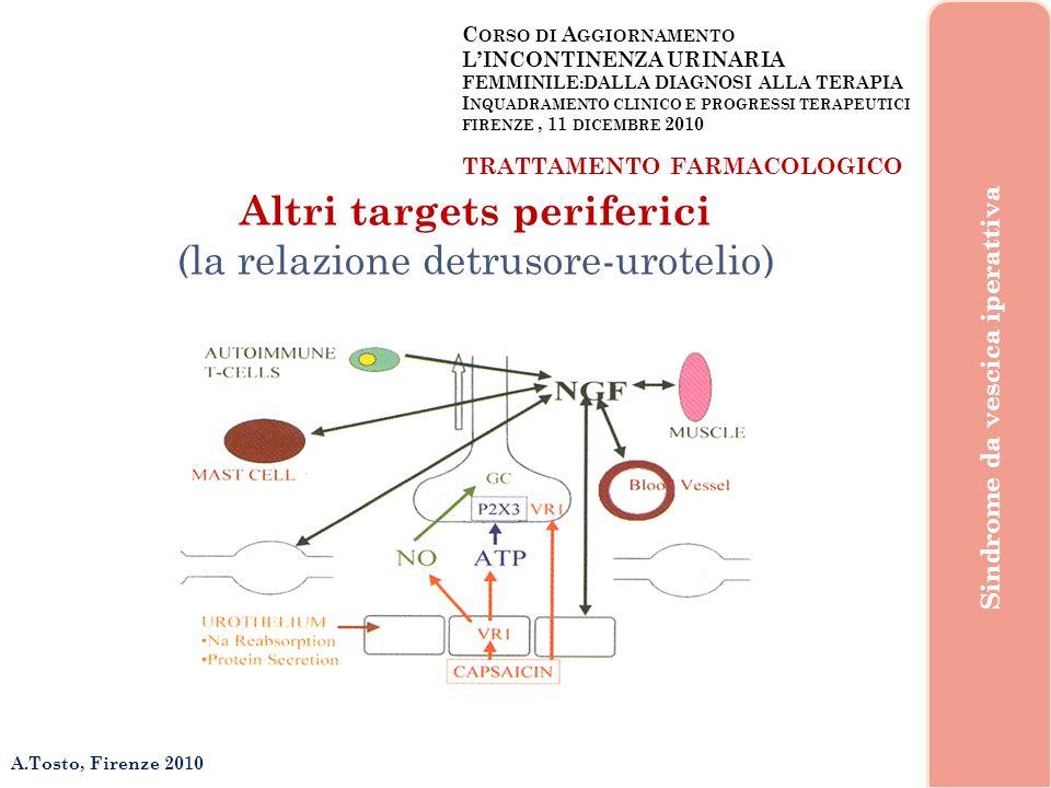 C ORSO DI A GGIORNAMENTO LINCONTINENZA URINARIA FEMMINILE:DALLA DIAGNOSI ALLA TERAPIA I NQUADRAMENTO CLINICO E PROGRESSI TERAPEUTICI FIRENZE, 11 DICEMBRE 2010 A.Tosto, Firenze 2010 Sindrome da vescica iperattiva TRATTAMENTO FARMACOLOGICO Razionale duso ed Effetti Collaterali