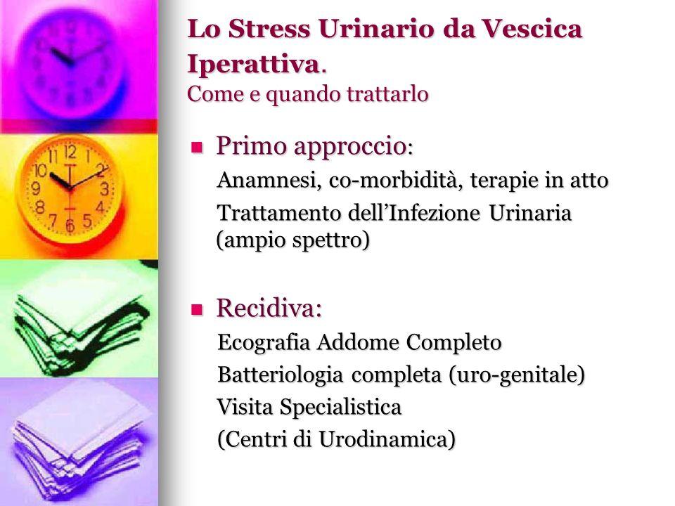 Lo Stress Urinario da Vescica Iperattiva. Come e quando trattarlo Primo approccio : Primo approccio : Anamnesi, co-morbidità, terapie in atto Anamnesi