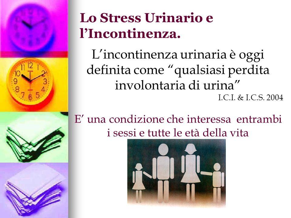 Lincontinenza urinaria è oggi definita come qualsiasi perdita involontaria di urina I.C.I. & I.C.S. 2004 E una condizione che interessa entrambi i ses