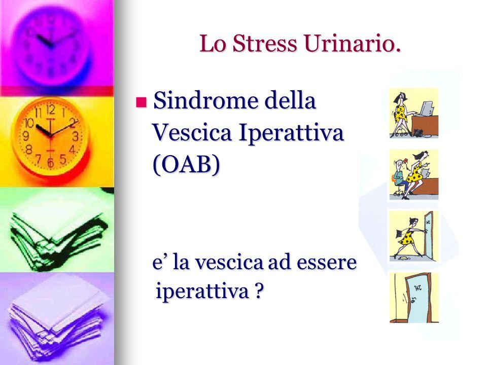 La vescica iperattiva (OAB) Definizioni Con il termine Vescica Iperattiva si intende definire una Sindrome Clinica caratterizzata da: Urgenza minzionale Con o Senza Incontinenza Urinaria Frequenza minzionale diurna >8 Nicturia>2 IN ASSENZA DI INFEZIONE URINARIA IN ATTO, PATOLOGIE UROGENITALI NEOPLASTICHE O DEGENERATIVE; PATOLOGIE SISTEMICHE CHE PRODUCANO UN AUMENTO DELLA DIURESI (POLIURIA NOTTURNA).
