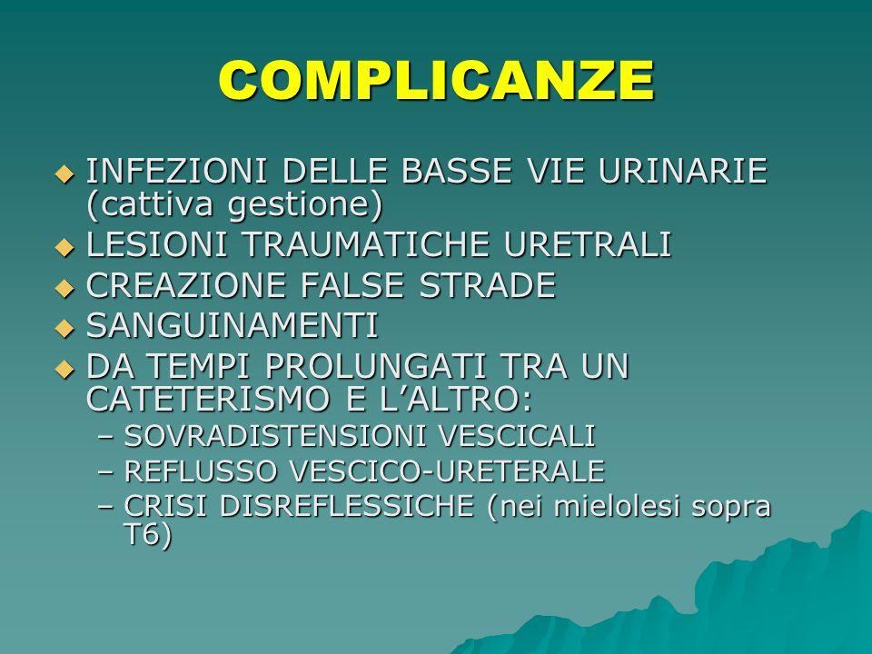 COMPLICANZE INFEZIONI DELLE BASSE VIE URINARIE (cattiva gestione) INFEZIONI DELLE BASSE VIE URINARIE (cattiva gestione) LESIONI TRAUMATICHE URETRALI L