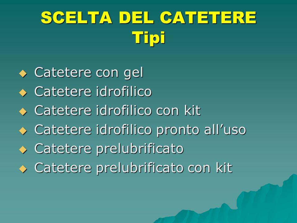 SCELTA DEL CATETERE Tipi Catetere con gel Catetere con gel Catetere idrofilico Catetere idrofilico Catetere idrofilico con kit Catetere idrofilico con