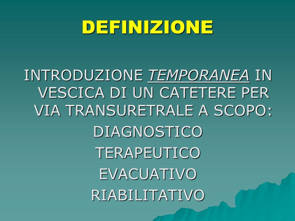 DEFINIZIONE INTRODUZIONE TEMPORANEA IN VESCICA DI UN CATETERE PER VIA TRANSURETRALE A SCOPO: DIAGNOSTICOTERAPEUTICOEVACUATIVORIABILITATIVO