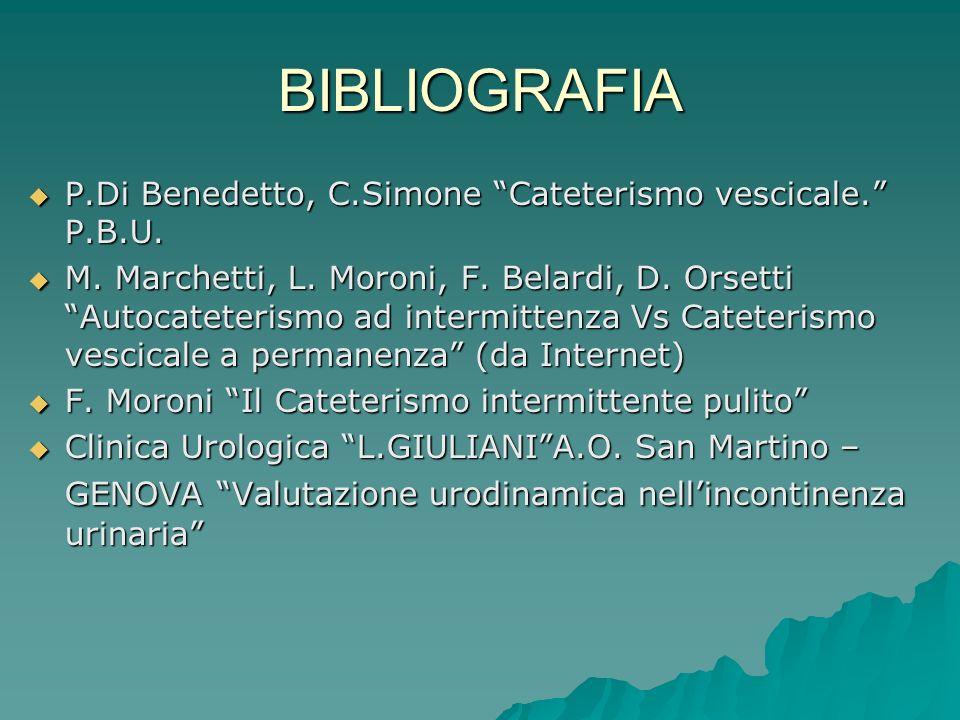 BIBLIOGRAFIA P.Di Benedetto, C.Simone Cateterismo vescicale. P.B.U. P.Di Benedetto, C.Simone Cateterismo vescicale. P.B.U. M. Marchetti, L. Moroni, F.
