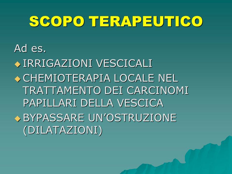 SCOPO TERAPEUTICO Ad es. IRRIGAZIONI VESCICALI IRRIGAZIONI VESCICALI CHEMIOTERAPIA LOCALE NEL TRATTAMENTO DEI CARCINOMI PAPILLARI DELLA VESCICA CHEMIO