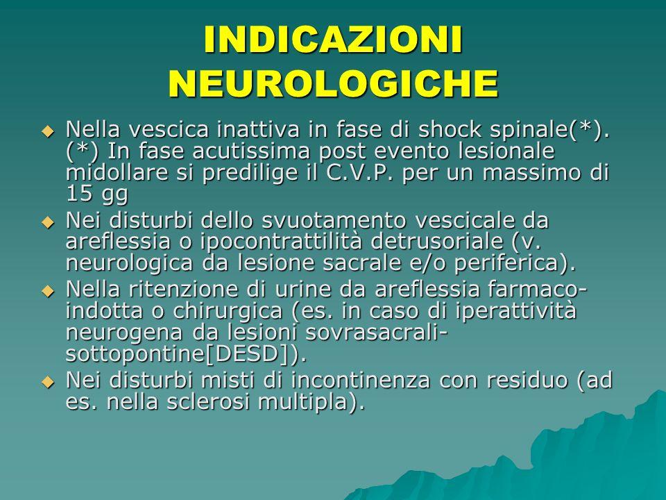 INDICAZIONI NEUROLOGICHE Nella vescica inattiva in fase di shock spinale(*). (*) In fase acutissima post evento lesionale midollare si predilige il C.