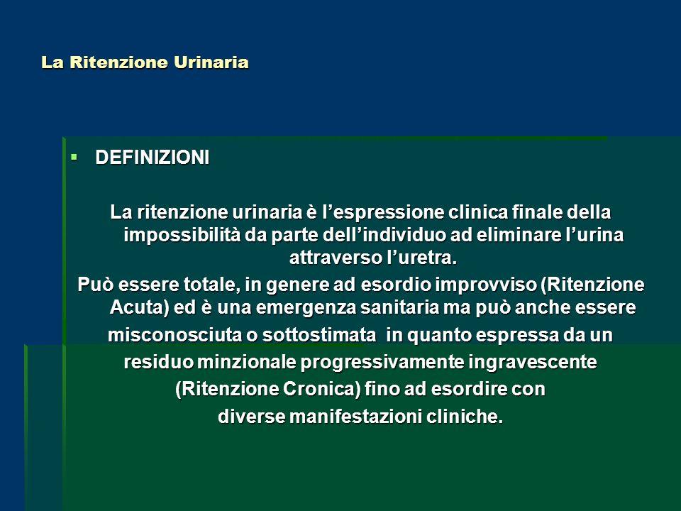 La Ritenzione Urinaria DEFINIZIONI DEFINIZIONI La ritenzione urinaria è lespressione clinica finale della impossibilità da parte dellindividuo ad elim