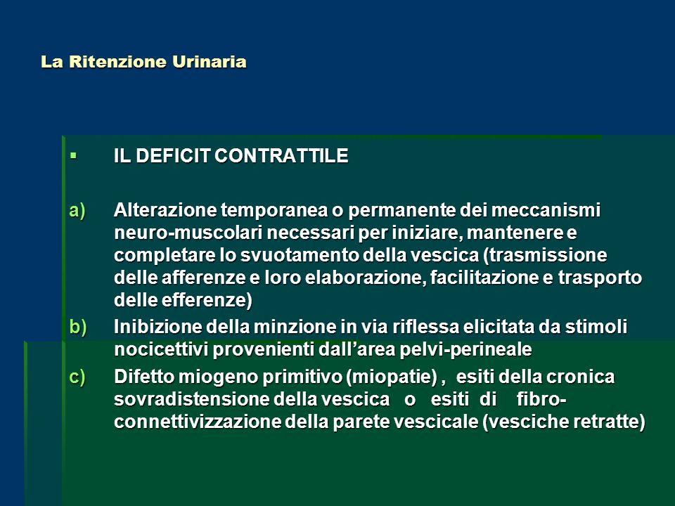 La Ritenzione Urinaria IL DEFICIT CONTRATTILE IL DEFICIT CONTRATTILE a)Alterazione temporanea o permanente dei meccanismi neuro-muscolari necessari pe