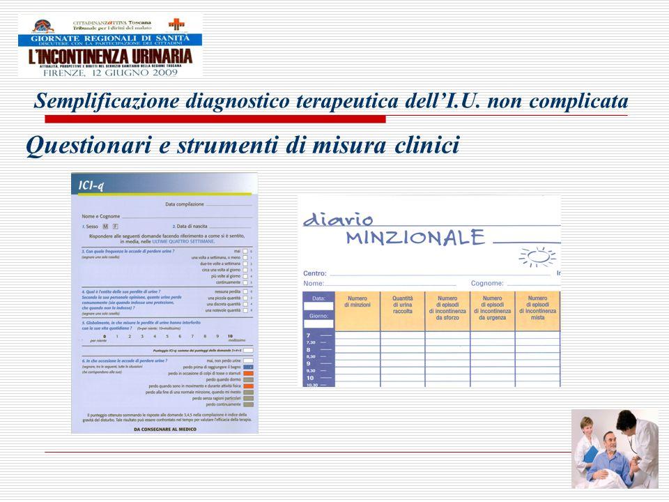 Semplificazione diagnostico terapeutica dellI.U. non complicata Questionari e strumenti di misura clinici