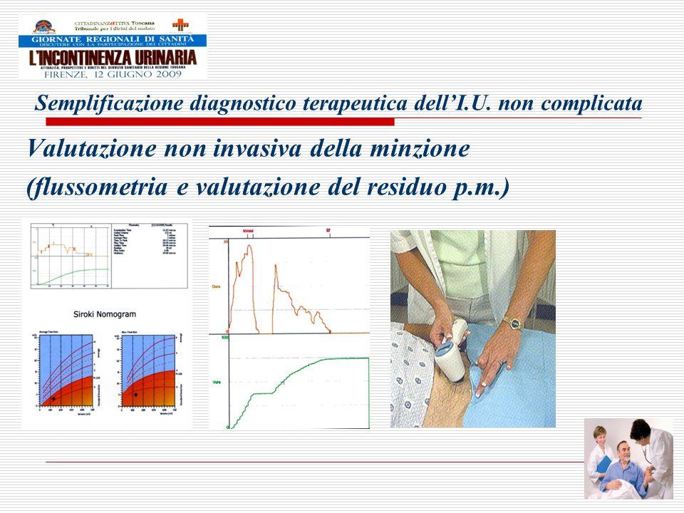 Semplificazione diagnostico terapeutica dellI.U. non complicata Valutazione non invasiva della minzione (flussometria e valutazione del residuo p.m.)