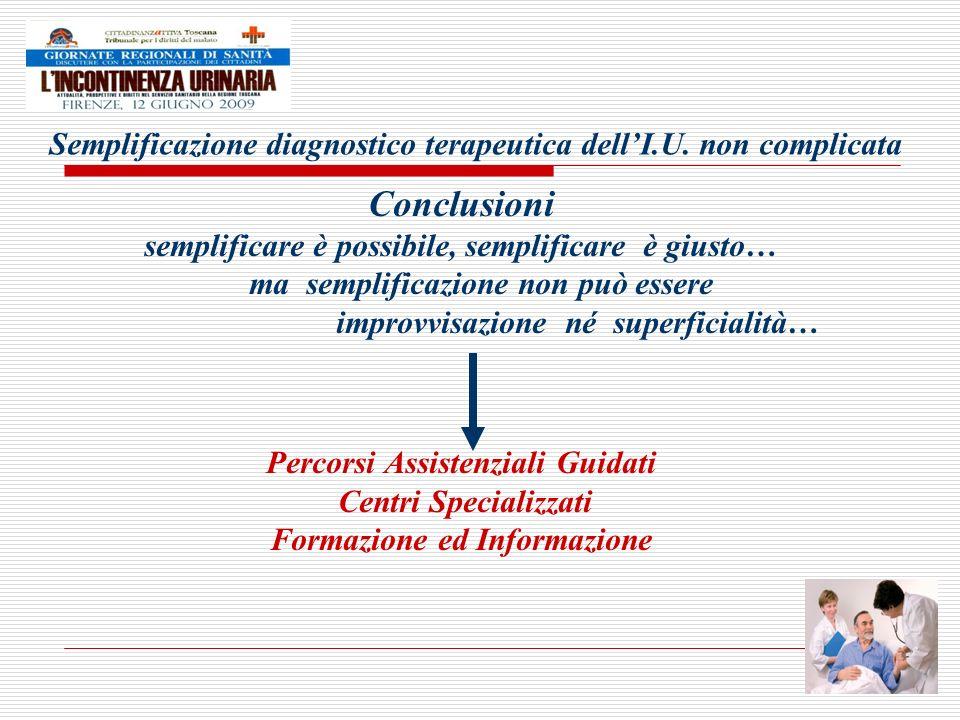 Semplificazione diagnostico terapeutica dellI.U. non complicata Conclusioni semplificare è possibile, semplificare è giusto… ma semplificazione non pu