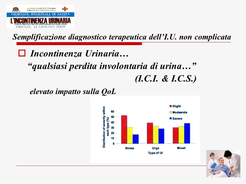 Semplificazione diagnostico terapeutica dellI.U. non complicata Incontinenza Urinaria… qualsiasi perdita involontaria di urina… (I.C.I. & I.C.S.) elev