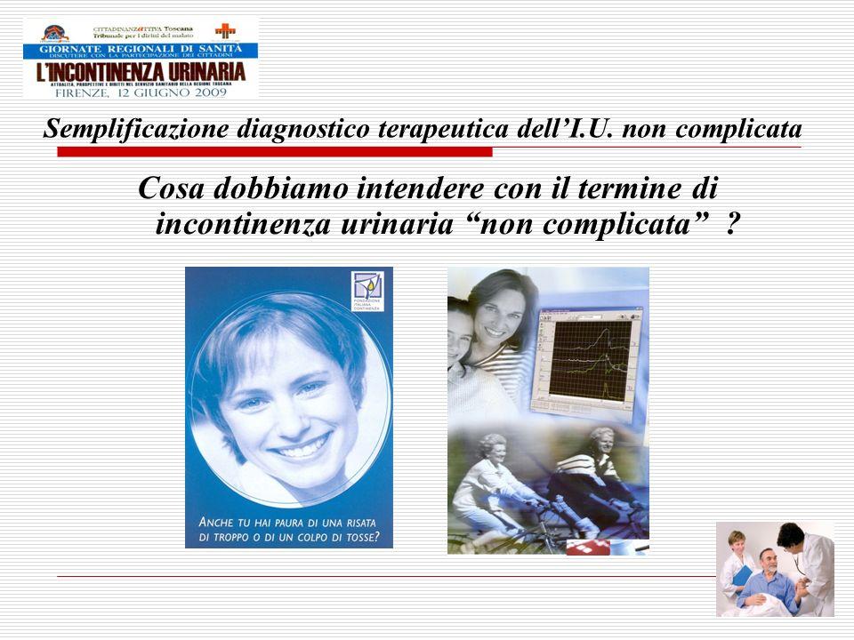 Incontinenza complicata Recidiva Associata a: Dolore Ematuria Infezioni ricorrenti Sintomi di svuotamento Radioterapia pelvica Chirurgia pelvica radicale Fistola Incontinenza con urgenza e/o frequenza Incontinenza di tipo misto Incontinenza durante attività fisica STORIA VALUTAZIONE CLINICA INQUADRAMENTO CLINICO Diagnosi Trattamento CONSIDERARE: CISTOURETROSCOPIA IMAGING URODINAMICA INCONTINENZA DA SFORZO URODINAMICA (USI) INCONTINENZA da urgenza/iperattività (DOI) INCONTINENZA MISTA (USI+DOI) Valutazione della mobilità /prolasso organi pelvici Considerare limaging app.