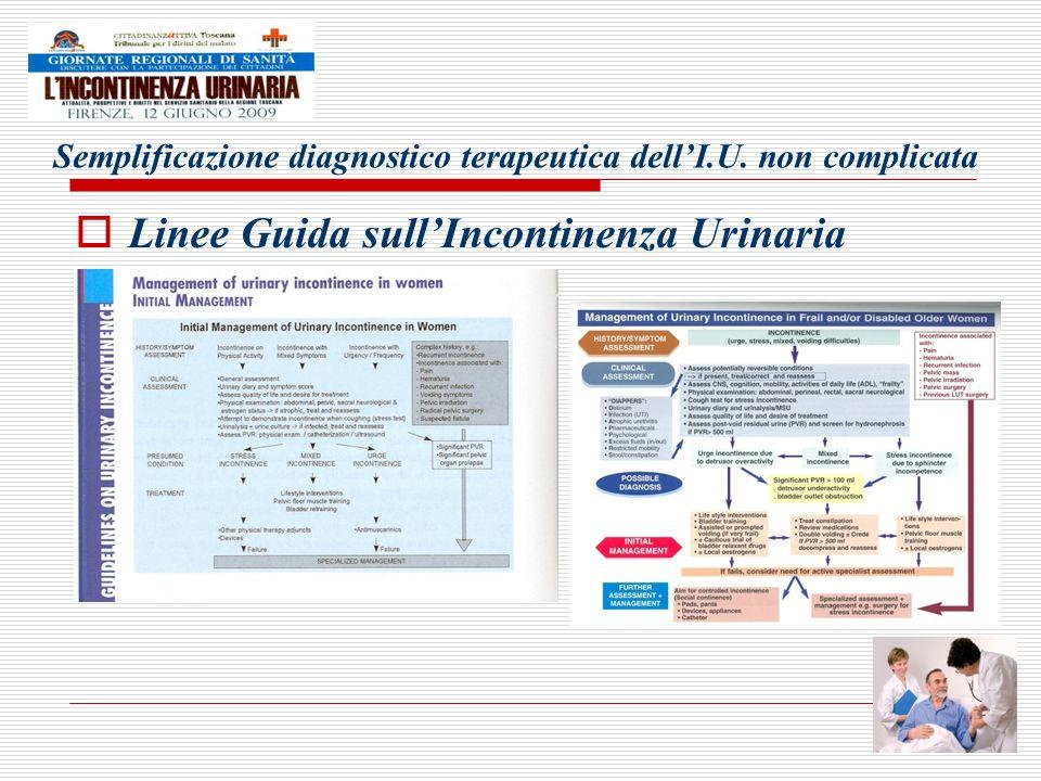 Semplificazione diagnostico terapeutica dellI.U. non complicata Linee Guida sullIncontinenza Urinaria