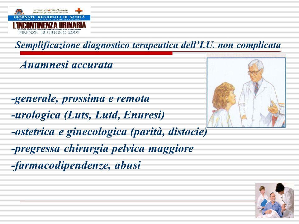 Semplificazione diagnostico terapeutica dellI.U. non complicata Anamnesi accurata -generale, prossima e remota -urologica (Luts, Lutd, Enuresi) -ostet