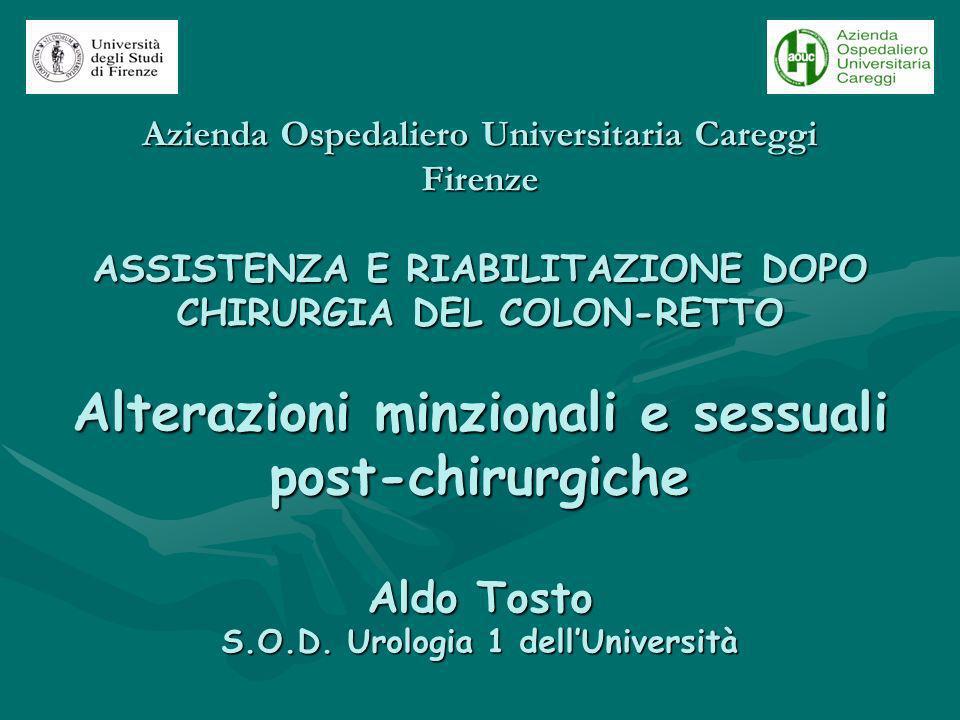 Azienda Ospedaliero Universitaria Careggi Firenze ASSISTENZA E RIABILITAZIONE DOPO CHIRURGIA DEL COLON-RETTO Alterazioni minzionali e sessuali post-ch