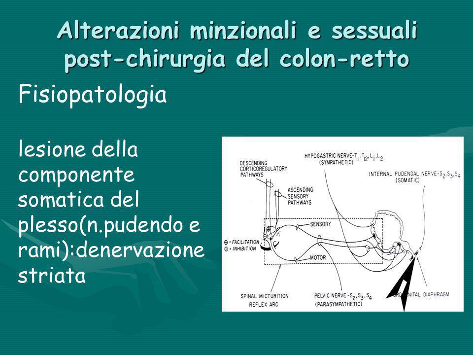 Alterazioni minzionali e sessuali post-chirurgia del colon-retto Fisiopatologia lesione della componente somatica del plesso(n.pudendo e rami):denerva