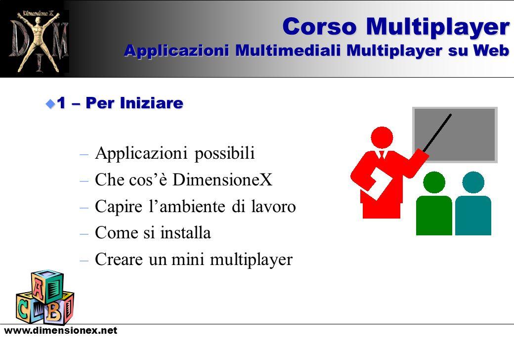 www.dimensionex.net u 1 – Per Iniziare – Applicazioni possibili – Che cosè DimensioneX – Capire lambiente di lavoro – Come si installa – Creare un min
