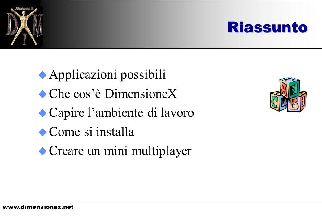 www.dimensionex.netRiassunto u Applicazioni possibili u Che cosè DimensioneX u Capire lambiente di lavoro u Come si installa u Creare un mini multipla