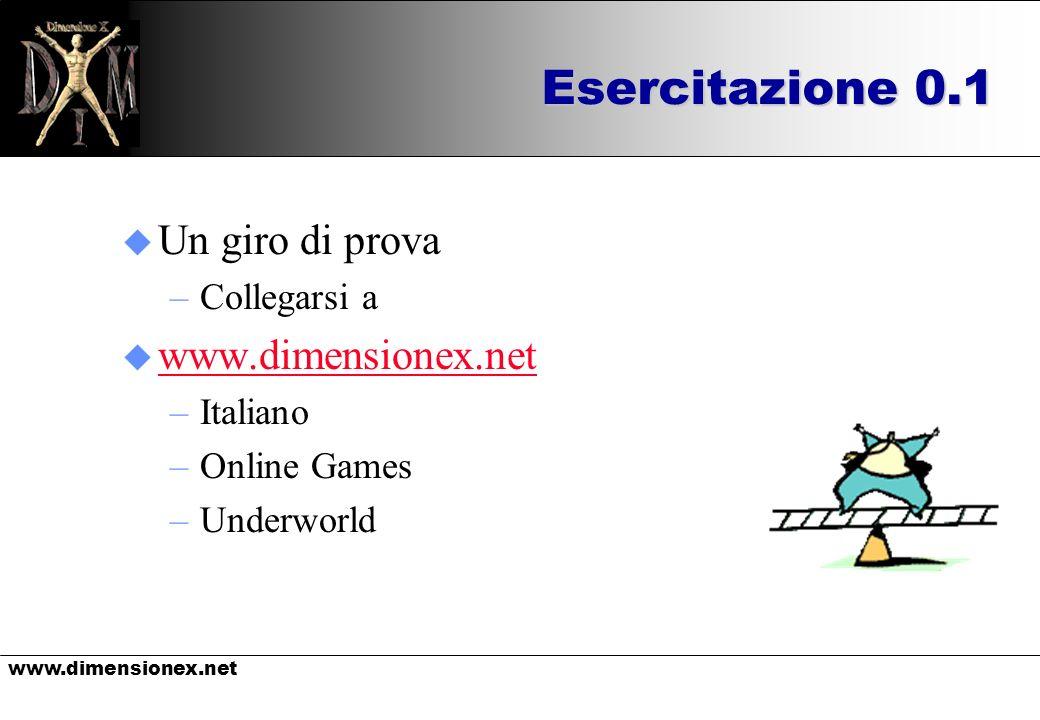 www.dimensionex.net Esercitazione 0.1 u Un giro di prova –Collegarsi a u www.dimensionex.net www.dimensionex.net –Italiano –Online Games –Underworld