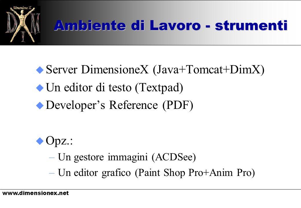 www.dimensionex.net Ambiente di Lavoro - strumenti u Server DimensioneX (Java+Tomcat+DimX) u Un editor di testo (Textpad) u Developers Reference (PDF)