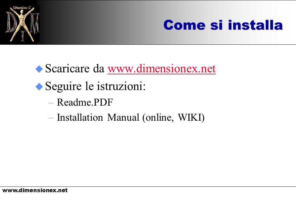 www.dimensionex.net Come si installa u Scaricare da www.dimensionex.netwww.dimensionex.net u Seguire le istruzioni: –Readme.PDF –Installation Manual (