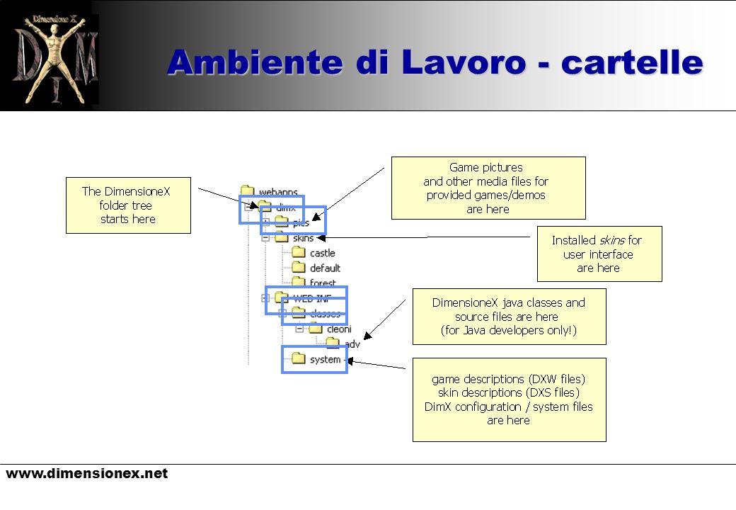 www.dimensionex.net Avviare il server u Attivare Programmi/Apache Tomcat/Monitor Tomcat u Avviare il servizio u Digitare: u http://localhost:8080/dimx/ (menu) http://localhost:8080/dimx/ u URL tipo: u http://localhost:8080/dimx/servlet/multiplayer?game=slot http://localhost:8080/dimx/servlet/multiplayer?game=slot