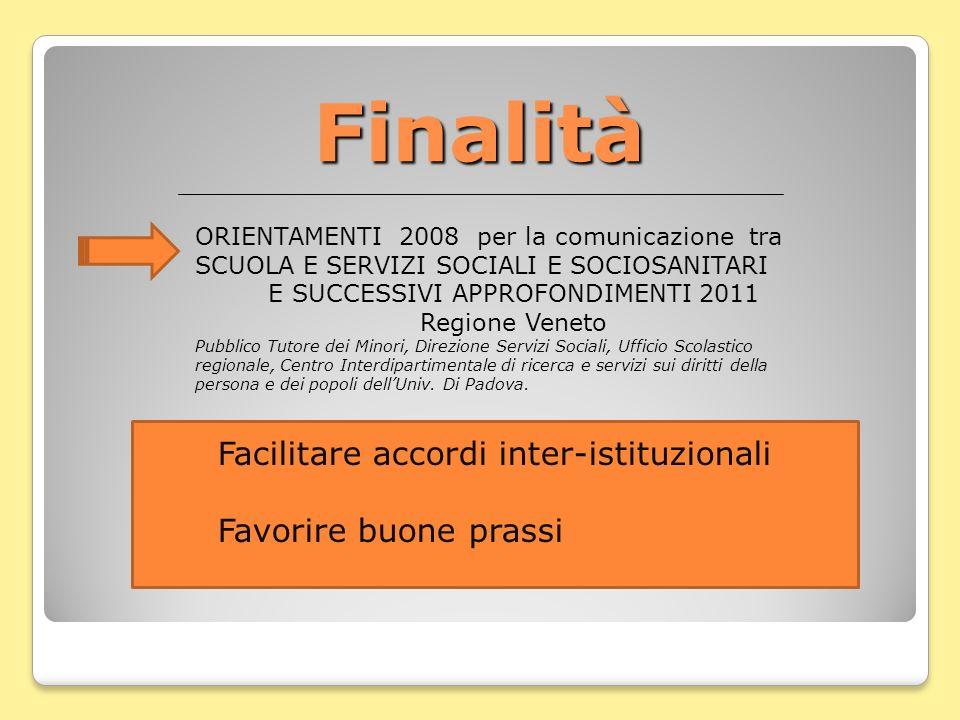 Finalità ORIENTAMENTI 2008 per la comunicazione tra SCUOLA E SERVIZI SOCIALI E SOCIOSANITARI E SUCCESSIVI APPROFONDIMENTI 2011 Regione Veneto Pubblico