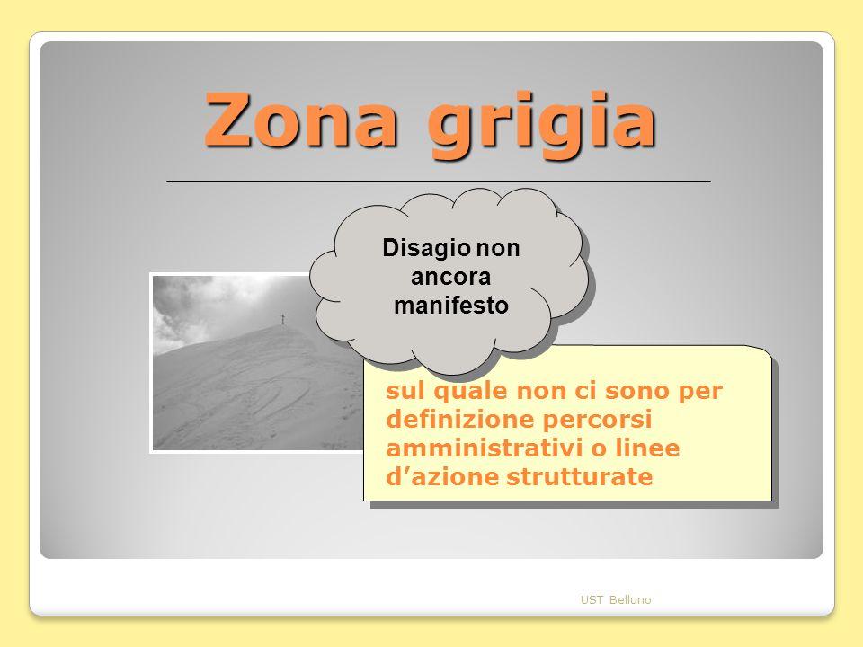 Zona grigia UST Belluno sul quale non ci sono per definizione percorsi amministrativi o linee dazione strutturate Disagio non ancora manifesto