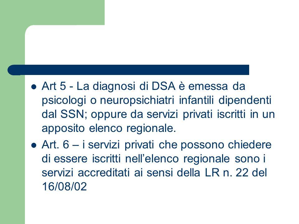 Art 5 - La diagnosi di DSA è emessa da psicologi o neuropsichiatri infantili dipendenti dal SSN; oppure da servizi privati iscritti in un apposito elenco regionale.