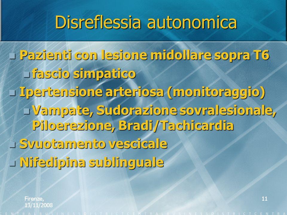 Firenze, 13/11/2008 11 Disreflessia autonomica Pazienti con lesione midollare sopra T6 Pazienti con lesione midollare sopra T6 fascio simpatico fascio