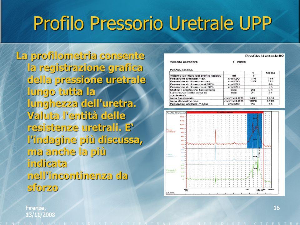 Firenze, 13/11/2008 16 Profilo Pressorio Uretrale UPP La profilometria consente la registrazione grafica della pressione uretrale lungo tutta la lungh