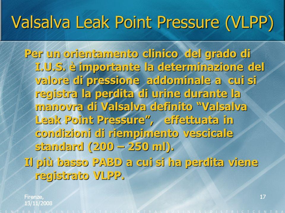 Firenze, 13/11/2008 17 Valsalva Leak Point Pressure (VLPP) Per un orientamento clinico del grado di I.U.S. è importante la determinazione del valore d