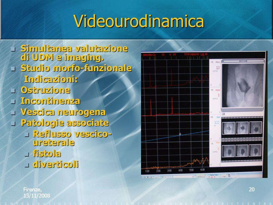 Firenze, 13/11/2008 20 Videourodinamica Simultanea valutazione di UDM e imaging. Simultanea valutazione di UDM e imaging. Studio morfo-funzionale Stud