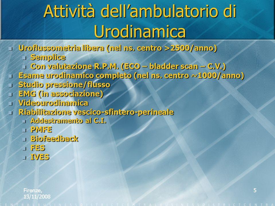 Firenze, 13/11/2008 5 Attività dellambulatorio di Urodinamica Uroflussometria libera (nel ns. centro >2500/anno) Uroflussometria libera (nel ns. centr